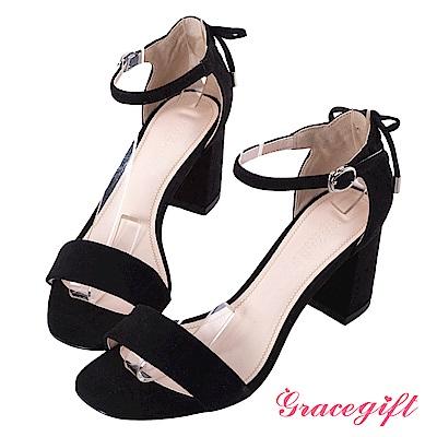 Grace gift-後綁結方頭一字踝帶涼鞋 黑
