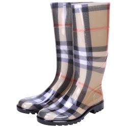 BURBERRY HOUSE 經典格紋雨靴(卡其色)
