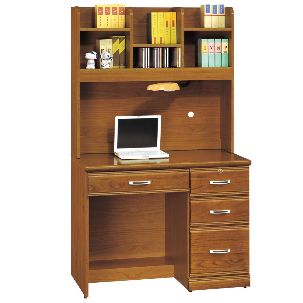 時尚屋 雅安樟木實木3.2尺層架書桌 寬97cm