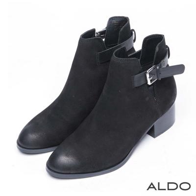 ALDO 原色真皮鞋面金屬釦帶粗跟靴~尊爵黑色