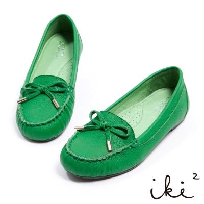 iki2繽紛色系-羊皮莫卡辛蝴蝶結舒適帆船鞋-風尚綠