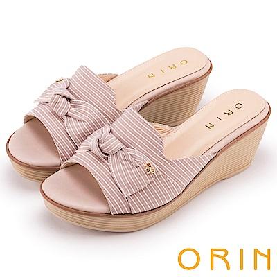ORIN 愜意渡假風情 嚴選條紋布面楔型拖鞋-粉色