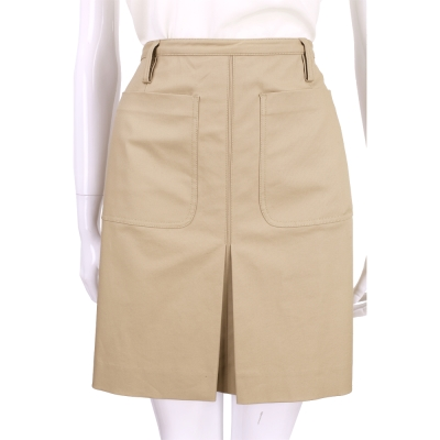 BURBERRY 卡其色雙口袋抓摺及膝裙