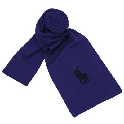 RALPH LAUREN POLO 大馬LOGO素面針織羊毛圍巾-藍黑色