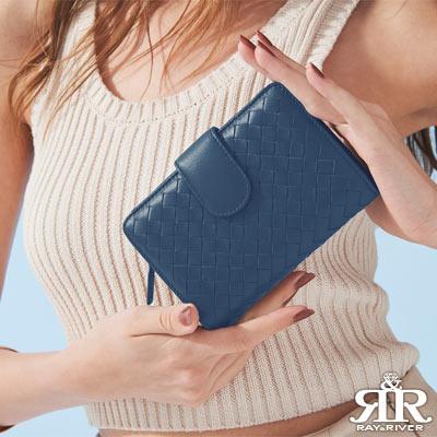 2R 葛瑞絲Grace梭織羊皮三折壓釦中夾 寶石藍