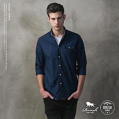 ROUSH (Slim Fit)單口袋合身素面襯衫 (3色)
