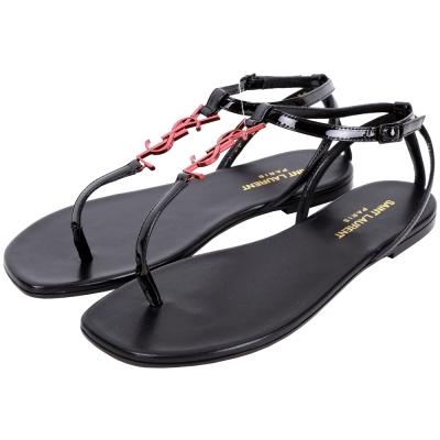 YSL Saint Laurent NU PIEDS 05 夾腳涼鞋(黑x紅)