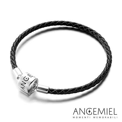 Angemiel安婕米 義大利純銀珠飾 皮革手鍊(黑色)