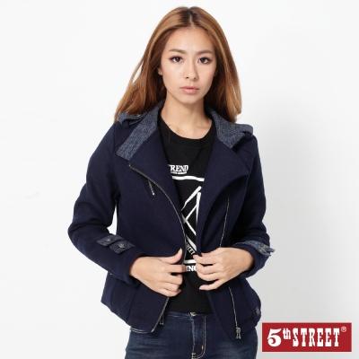 5th-STREET-合身毛料騎士外套-女-丈青色