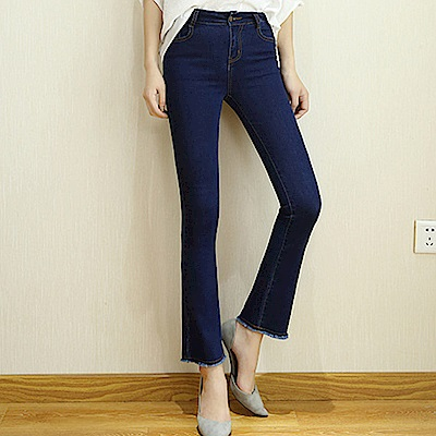 ALLK  流蘇窄直筒牛仔褲 深藍色(腰圍27-31)