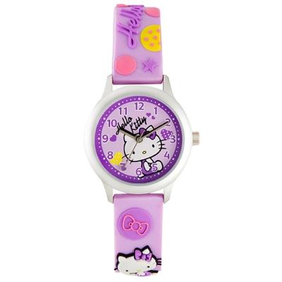 HELLO KITTY 凱蒂貓亮眼立體印花手錶-紫/32mm