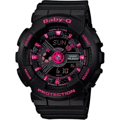 BABY-G 時尚甜美摩登指針數字雙顯錶(BA-111-1A)-黑x桃/43.4mm
