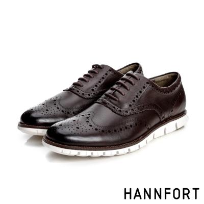 HANNFORT ZERO GRAVITY牛津翼紋雕花真皮氣墊鞋-男-深邃咖8H