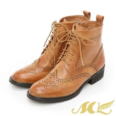 【MK】英倫全真皮系列-復古雕花微尖頭中筒牛津靴-棕色