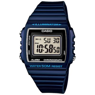 CASIO 超亮LED大螢幕方形數位錶(W-215H-2A)-紳士藍/40mm