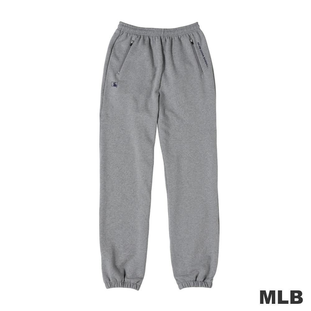 MLB-大聯盟雙側拉鍊口袋縮口印花厚棉長褲-麻灰色(男)