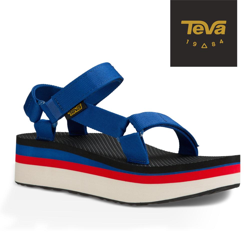 TEVA 美國-女 Flatform Universal 織帶厚底涼鞋 (法國藍)