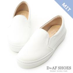 D+AF 舒適主打.MIT素面加厚底休閒懶人鞋*白
