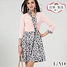 洋裝MIT優雅小碎花V領領帶修身收腰傘狀顯瘦洋裝S-XL LIYO理優