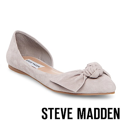 STEVE MADDEN-ENCHANT 麂皮扭結尖頭側空低跟鞋-灰色