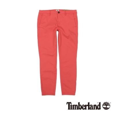 Timberland 女款桃紅素面彈性修身休閒九分褲
