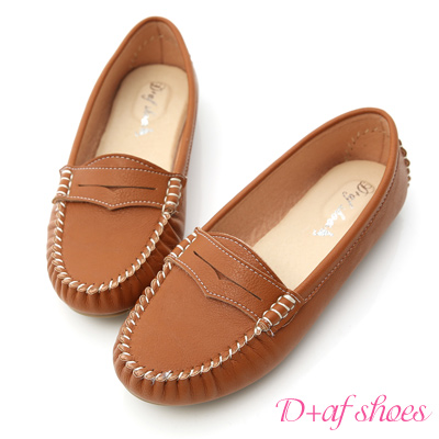 D+AF 悠活主張‧MIT舒適莫卡辛豆豆鞋*棕