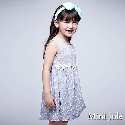 Mini Jule 童裝-洋裝 小白花細格紋後拉鍊背心洋裝(藍)