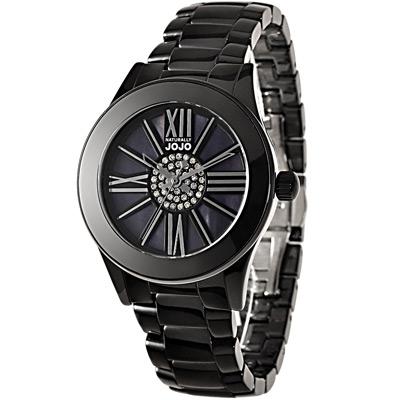 NATURALLY JOJO 認真x任真晶鑽陶瓷時尚腕錶-黑x銀/37mm