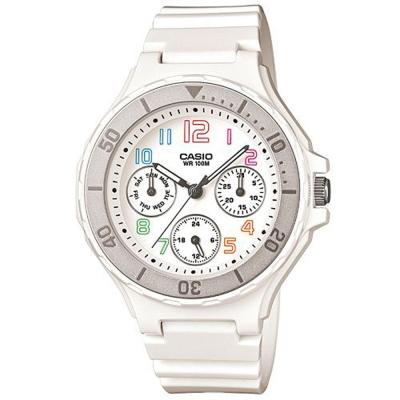 CASIO 繽紛彩虹糖甜心美人運動休閒錶(LRW-250H-7A)-白×銀框/35mm