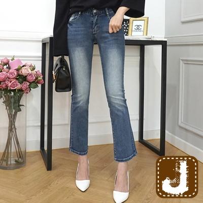 正韓 ?低腰刷白窄管喇叭長褲-(水洗藍)100%Korea Jeans