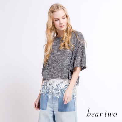 beartwo 透膚緹織花紋兩件式蕾絲上衣(二色)-動態show