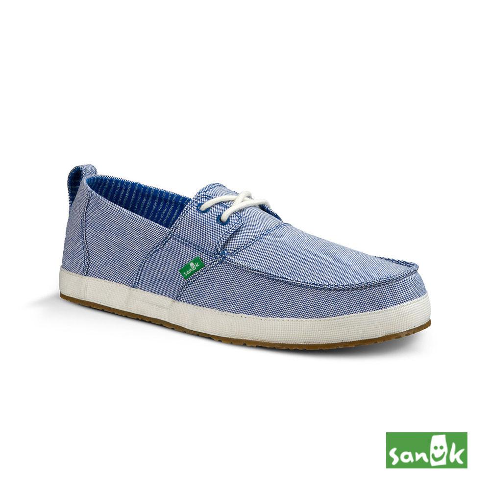 SANUK 素面方型鞋頭綁帶休閒鞋-男款(藍色)