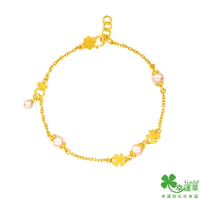 幸運草 綺幻花語黃金/水晶珍珠手鍊
