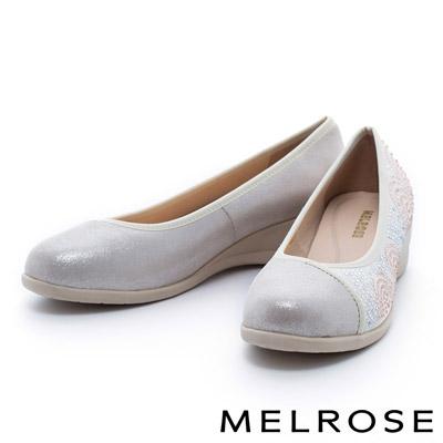 MELROSE-異材質拼接晶鑽圓頭楔型娃娃鞋-金