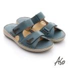 A.S.O 奈米氣墊 全真皮自黏帶奈米氣墊涼拖鞋 藍