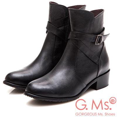 G.Ms. MIT系列-牛皮交叉皮帶釦短靴-黑色