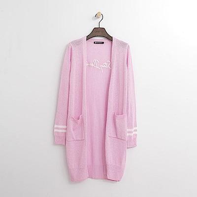 Hang Ten - 女裝 - 背繡字針織長外套-粉紅色