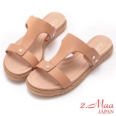 2.Maa- 麻編平跟涼拖鞋-梅紅
