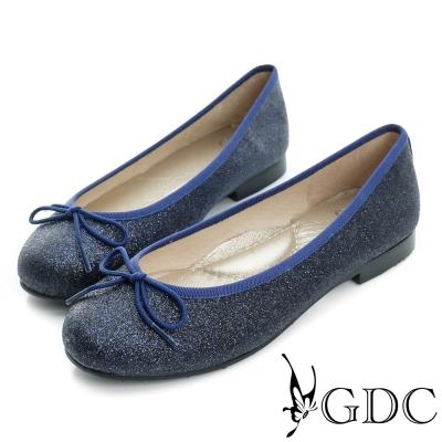 GDC-優雅閃料蝴蝶結圓頭平底娃娃鞋-藍色