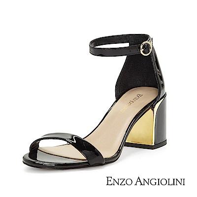 ENZO ANGIOLINI--漆皮一字金屬粗跟涼鞋-漆皮黑