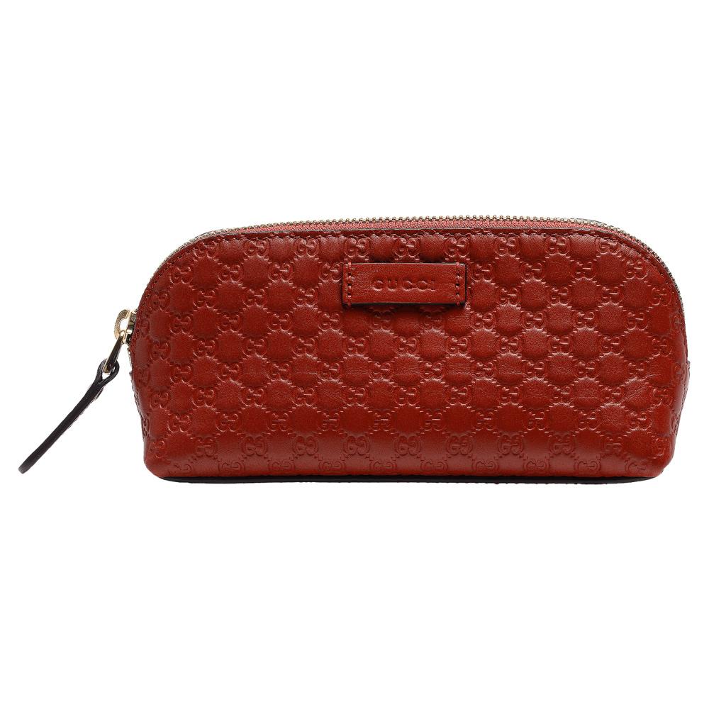 GUCCI 經典Guccissima GG壓紋牛皮拉鍊化妝包(暗紅)