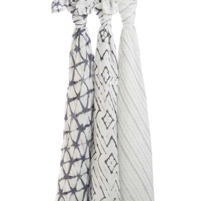 【美國aden+anais】新生兒絲柔(竹纖維)包巾3入-石墨印染系列AA9215