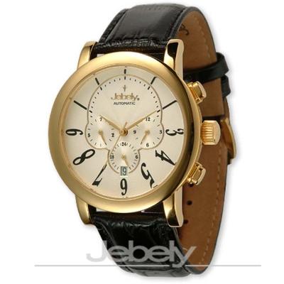 Jebely瑞士機械錶_聖莫里茲塔系列三眼造型-白/金框/42mm