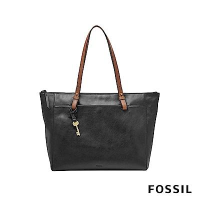 FOSSIL RACHEL 柔軟真皮托特包-黑色
