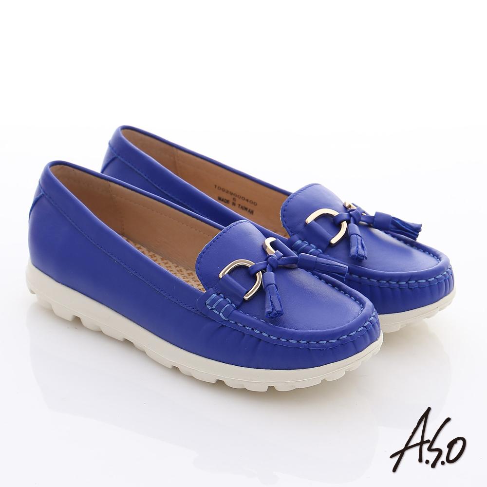 A.S.O 輕量樂活 真皮流蘇結奈米平底鞋 寶藍