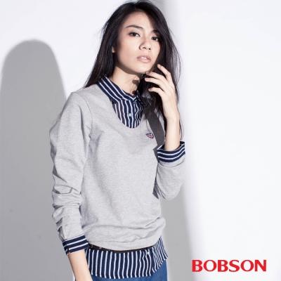 BOBSON  女款仿兩件式上衣-灰色