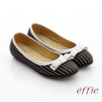 effie 編織樂時尚 全真皮編織奈米平底鞋 黑