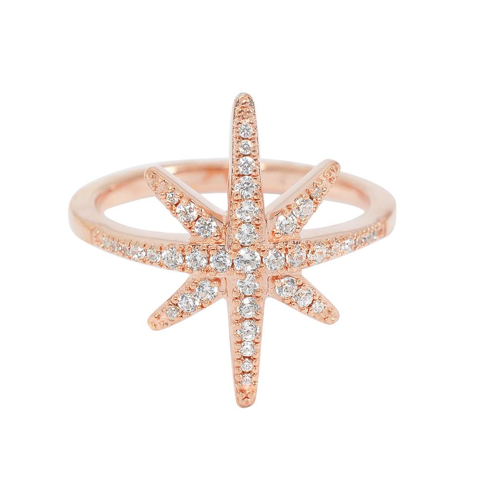 apm MONACO法國精品珠寶 優雅玫瑰金繁星鑲鋯戒指