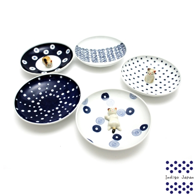 西海輕量波佐見燒5入小圓盤組-藍丸紋