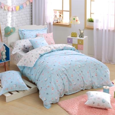 IN HOUSE-Garden of Ede-200織精梳棉-兩用被床包組(藍-加大)